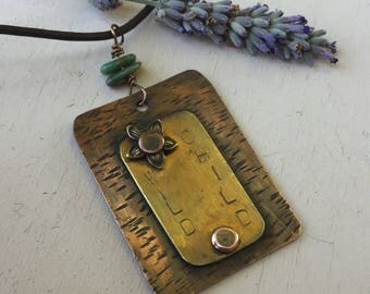 Mixed Metals Pendant, Wild Child Necklace, Brass Flower, Copper Brass Pendant, Stamped Pendant, Riveted Jewelry, Gifts for Her