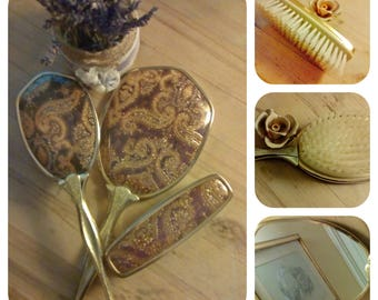 Vintage Dressing Table  Brush And Mirror Set