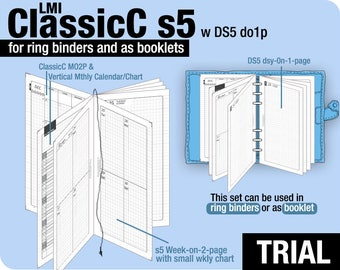 Trial [PERSONAL ClassicC S5 with DS5 do1p] November to December 2017 - Filofax Inserts Refills Printable Binder Planner Midori.
