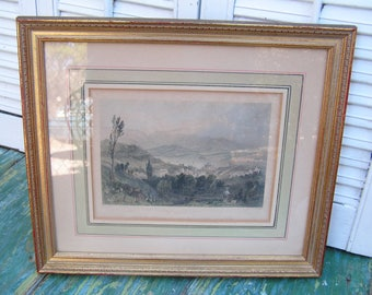 Original Antique Vintage Engraving Bartlett View of Hudson City and the Catskill Mountains Professionally Framed