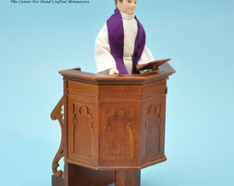 Pulpit for a church or a court Walnut High quality for dollhouse miniature 1:12 scale - limited edition
