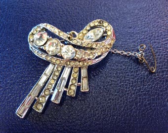 Early 1940's Diamontie Bow Brooch set with Early Stones