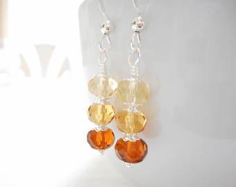 Ombré Brown Earrings, Czech Glass Earrings, Light Topaz Brown Earrings, Czech Glass Jewelry, Silver Dangle Earrings, Beaded Drop Earrings