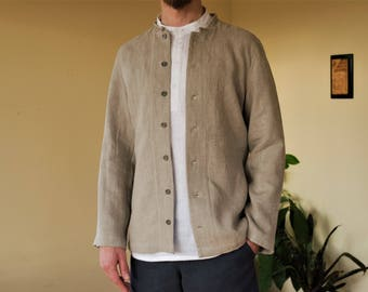 Ethnic linen summer jacket without lining, with hand embroidered stand collar.