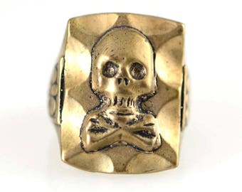 Mexican Biker Skull Ring Vintage Style Reproduction