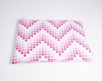 Pink Chevron Bag - Geometric Cosmetic Bag - Monogram Makeup bag -  Bridesmaid Bag - Bohemian Gifts - Medium