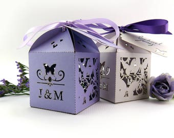 Floral butterfly wedding favor box, Laser cut wedding favour box, Personalised favour, Floral wedding table decor, Romantic summer wedding