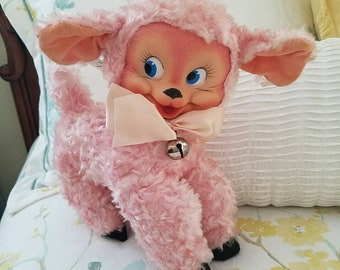 Gund Vintage Rubber face Pink lamb toy