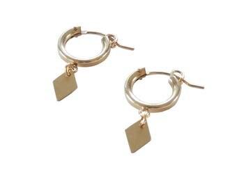 Diamond Charm Hoops in 14k GOLD FILL; Huggie Hoop Earrings; Gold Hoop Earrings; Tiny Hoop Earrings; Dangle Earrings