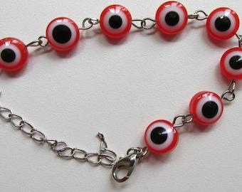 Red evil eye beads silver link bracelet