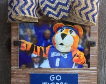 Memphis Go Tigers Go Whitewashed Rustic Frame