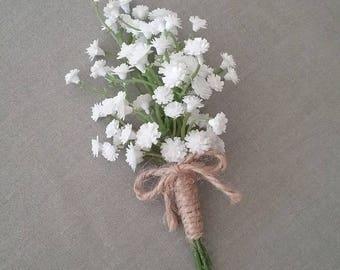 ON SALE Pageboy - Baby's Breath Buttonhole Pageboy -  Gypsophila Wedding Buttonhole, Boutonniere, Pageboy's Buttonhole
