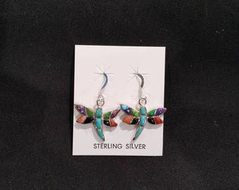 Inlay multi stones turquoise dragonfly dangle earrings