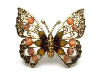 Vintage Liz Claiborne Butterfly Brooch Pin - Gold Tone Orange Cats Eye & Deep Red and Yellow Cabochons Topaz Champagne Rhinestones Signed LC