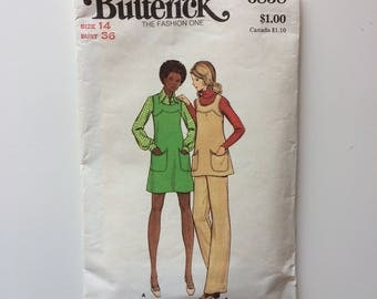 Vintage sewing pattern, Butterick 6858, misse's jumper size 14, jumper pattern, tunic and pant vintage pattern, 1970's jumper vintage sewing
