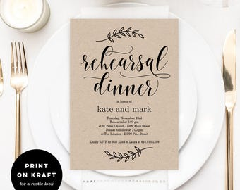 Printable Rehearsal Dinner Invitation Template   Rustic Wedding Rehearsal  Dinner   Instant Download   Rustic Elegance  Printable Dinner Invitations