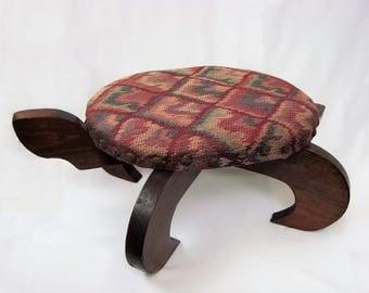 Vintage Wooden Turtle Footstool