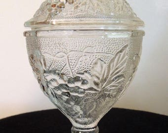 Vintage Small Pressed Glass Compote Candy Dish