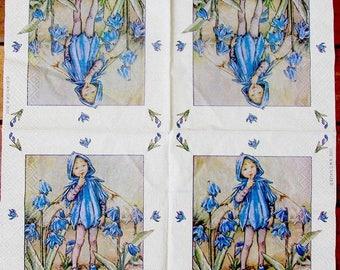 2 napkins paper flower blue fairies