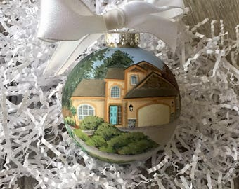 House Rendering on Ornament// Custom House Portrait on Ornament // Hand Painted New Home Ornament// Our First Home Ornament