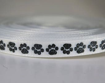"5 yards of 3/8 inch ""Dog paw"" grosgrain ribbon"