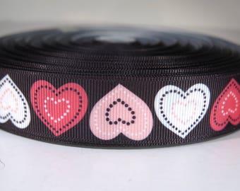 "5 yards of 7/8 inch ""valentine hearts"" grosgrain ribbon"
