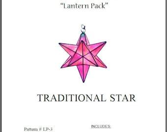 "Moravian Star Stained Glass Lamp (Lantern) Pattern- 15"" Diameter"