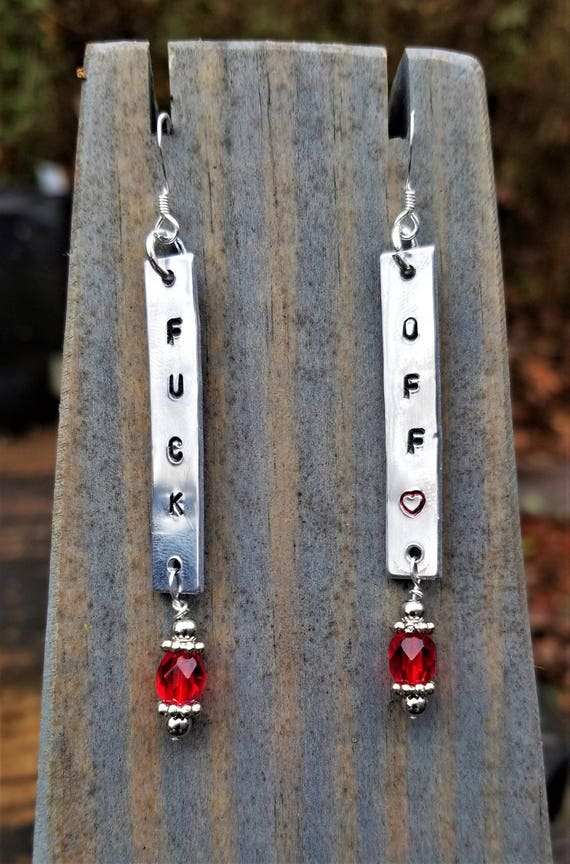 Hand Stamped F*CK OFF Earrings (Sterling Silver, Aluminum)