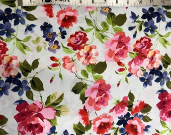 Blue Floral Fabric BTY