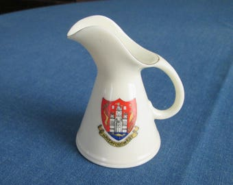 Vintage Crested Ware Pitcher Jug Haverfordwest Wales Arcadian China Stoke on Trent