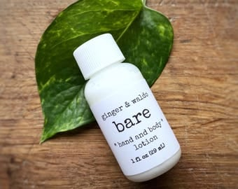 Bare Hand and Body Lotion SAMPLE SIZE - Bare - Hand and Lotion - Unscented Lotion - Vegan Lotion - Hand Lotion - Body Lotion