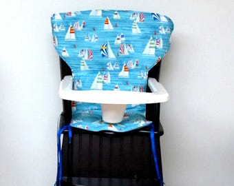 safety 1st chair pad, high chair replacement cover, Eddie Bauer newport highchair cover, high chair pad, child care accessory, sail boats