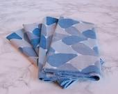 Vintage Napkins - MCM Cloth Napkins - Blue Retro Napkins - Table Napkins