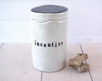 Incentive Treats Cookie Jar.  Canister for Cat or Dog Treats.  Treat Container. With Black Letters. Dog Cookies, Cat Treats.