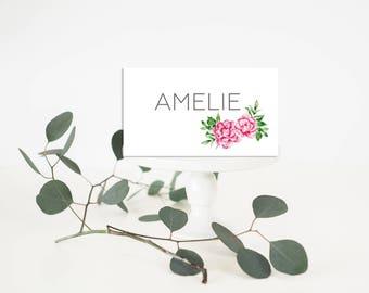 Peonies Wedding Place-Card - Wedding Place-Card - Floral wedding Place-Card - Pink Peonies Place-Card - Floral Wedding - Romantic Wedding