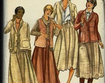 25% OFF Butterick 6260   Misses Jacket, Vest, Skirt   Size 12  uncut