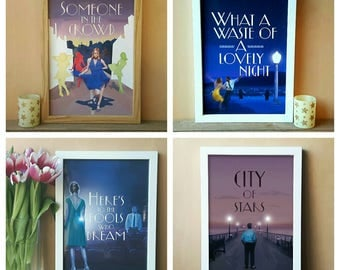 Set of 4 La La Land Prints (A4 & A5) emma stone, ryan gosling, home decor, gift, picture, poster, wall art, film, movie