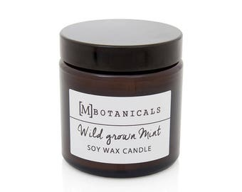 Wild Grown Mint Candle. Soy wax, natural blended, scented candle