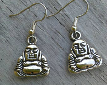 Buddha Earrings on hypoallergenic surgical steel fish hook earring wires