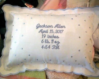 Baby Pillow Personalized, Baptizim, Christening Birth Announcement,