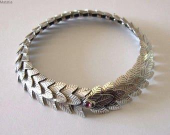 Silver Link Bracelet- rustic bracelet, silver bracelet , leaf bracelet, silver rustic bracelet , woodland bracelet , link bracelet ,