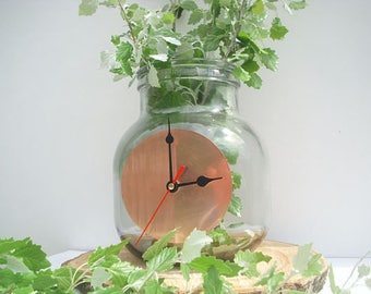 Big clock with vintage glass bottle, table clock, wall clock, in a genuine copper clock.