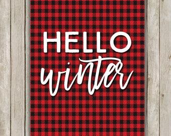8x10 Winter Art Print, Hello Winter, Plaid Art, Winter Favorite, Winter Art, Holiday Decor, Buffalo Art, Typography Art, Instant Download