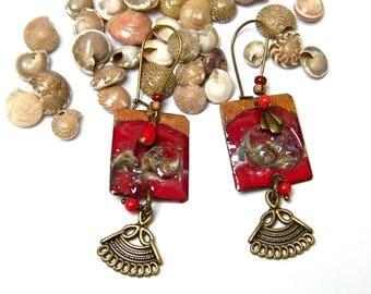 Earrings copper enamel, natural stone, bone, copper, red, beige, rustic chic