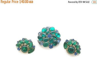CLEARANCE Vintage Green and Blue Rhinestone Brooch and Earring Set, 1950s 1960s Demi Parure, Clip Earrings, Costume Jewelry