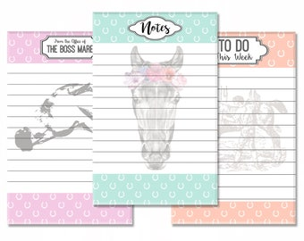 "Equestrian Stationery 3-Pack: Boss Mare Memo Pad, Boho Pony Notepad, Vintage Weekly To Do List - 5.5""x8.5"" Full Color Gift Set"