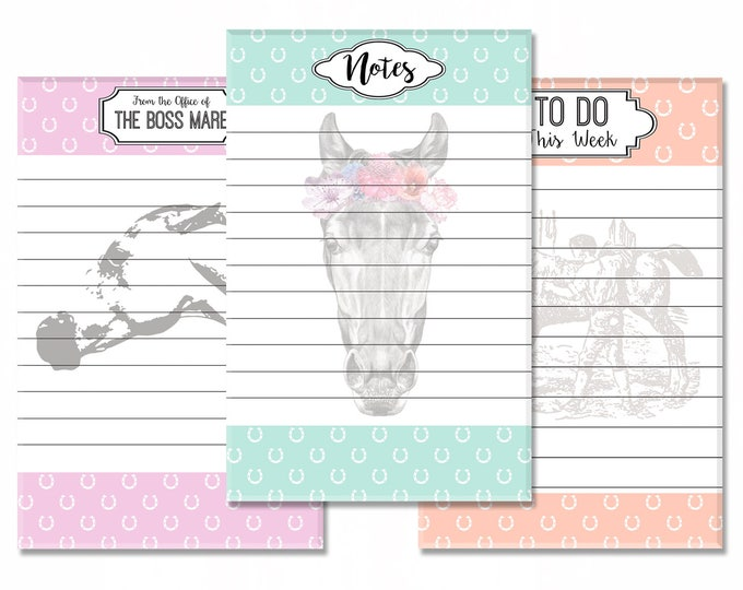 """Featured listing image: Equestrian Stationery 3-Pack: Boss Mare Memo Pad, Boho Pony Notepad, Vintage Weekly To Do List - 5.5""""x8.5"""" Full Color Gift Set"""