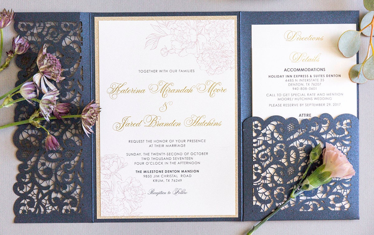 Navy Blue And Gold Wedding Invitations: Elegant Formal Navy Blue, Gold Glitter And Blush Lace