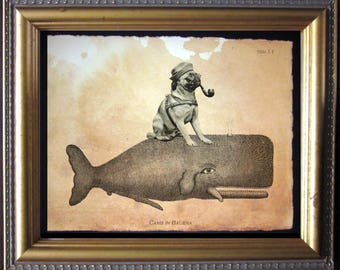Pug Riding Whale - Vintage Collage Art Print on Tea Stained Paper - Vintage Art Print - Vintage Paper