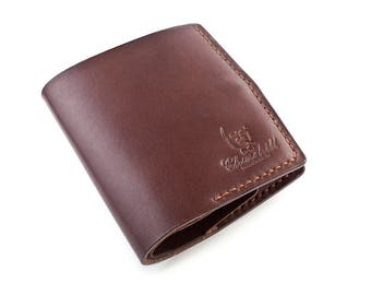 "Handmade Leather brown Bi-fold wallet ""Essential ducat"" with pocket for coins"